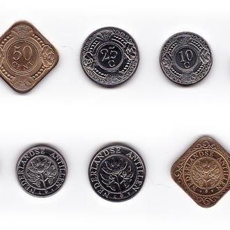 Нидерландские Антилы набор 1 5 10 25 50 центов, 1 гульден 1997-2005 UNC