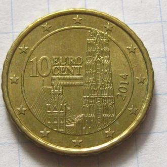 Австрия_ 10 евро центов 2014 года  оригинал