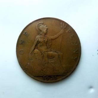 Великобритания 1 пенни (Penny) 1921 год