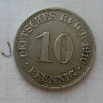 ГЕРМАНИЯ, 10 пфеннигов 1910 г.