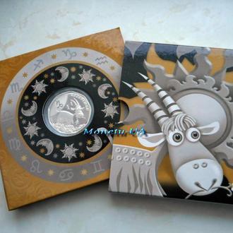 Срібна монета Козоріжок Дитячий Зодіак 2015 НБУ серебро Козерог Детский зодиак Ag в сувенірній уп