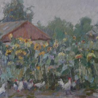 Сельский пейзаж с курами Художник Глеб Хроменко (1925-1970гг.)
