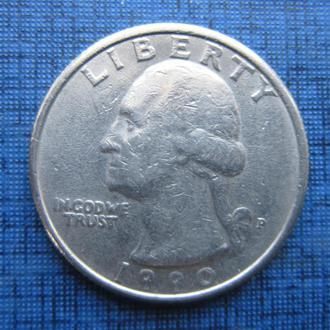 Монета квотер 25 центов США 1990 Р