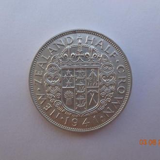 """Новая Зеландия 1/2 кроны 1941 George VI """"Crowned shield"""" серебро СУПЕР состояние очень редкая"""