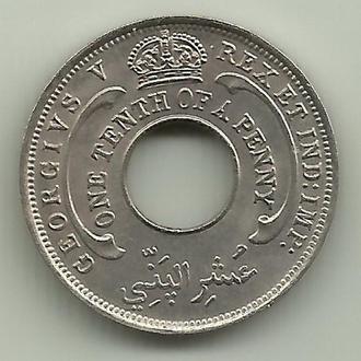 Британская Западная Африка Георг V 1/10 пенни 1928 UNC