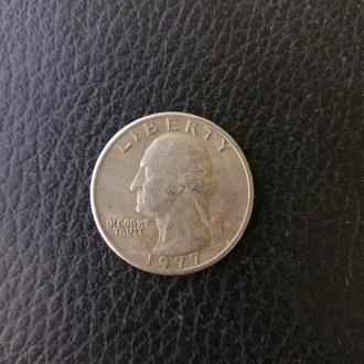 Монета США 25 центов 1977 года