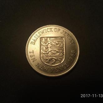 Джерси 10 новых пенсов 1968 UNC!