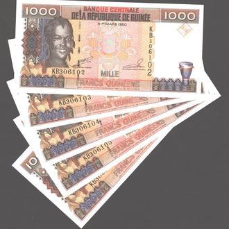 Гвинея 1000 франков 1998 г. в UNC из пачки
