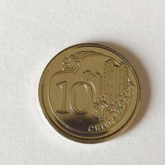 10 центов Сингапур 2013 unc, штемпельная