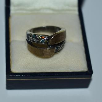 шикарное кольцо мультикамни серебро 925 проба золото 375 проба Европа вес 8,50 грамм
