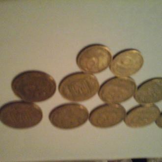 1992 год , 12 монет, 50 коп х 6 шт, 25 коп х 4 шт, 10 коп х 2 шт