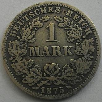 Германия 1 марка 1875 С СЕРЕБРО!!!
