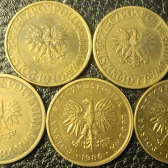 5 злотих Польща (порічниця), 5шт, всі різні