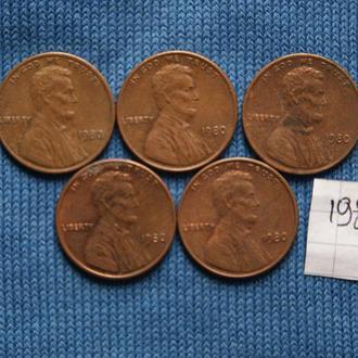 США   1 цент  пшеничный  1980 г