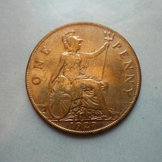 Великобритания 1 пенни 1927  KM#826 изменённый портрет