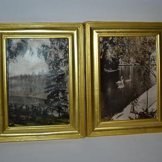 """2 фото-этюда """"речка в лесу""""  и """"парк ахам афани зимой"""" тбилиси 1961 год винтаж"""
