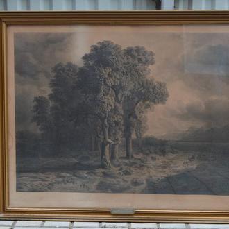 s.L.Roux. ,,Eichen im sturme am vierwaldstatter see,, 1890. Графика.