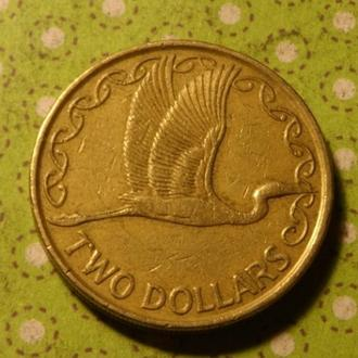 Новая Зеландия 1990 год монета 2 доллара птица !