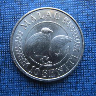 монета 10 сенити Тонга 2015 фауна птицы