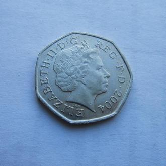 50 пенсов Великобритания 2004 год