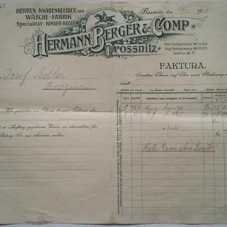 Счёт 1916 г   HERMANN BERGER