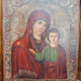 Ікона оригінальна подвійна дошка Богородиця -Св Катерина кін 19ст з експ. оцінкою. Химочка, Полтавщ.