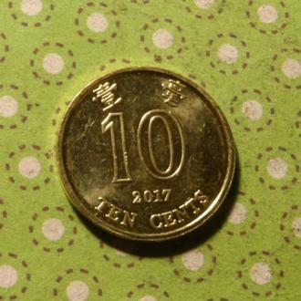 Гонконг 2017 год монета 10 центов Китай !