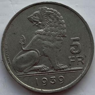 Бельгия 5 франков 1939 год