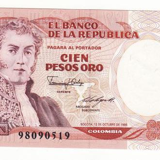 Колумбия 100 песо оро 12 октября 1986 UNC