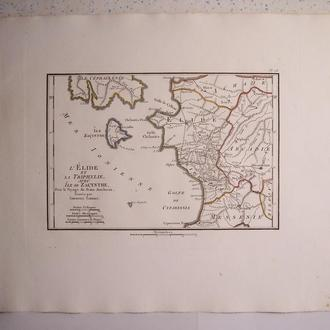 Карта : Элида, Трифилия и остров Закинф, Греция, Франция, 1824 год
