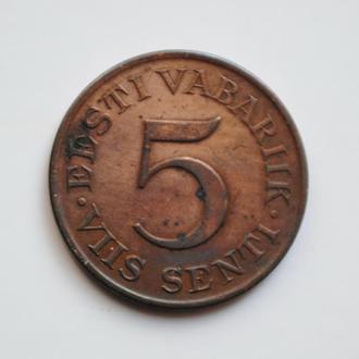 Эстония 5 сентов 1931 г., XF, '1ая Республика (Крона) (1928-1940)'
