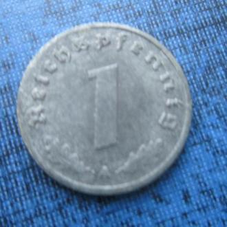 монета 1 пфенниг Германия 1944 А свастика цинк Рейх