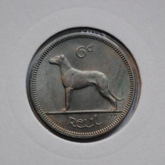 Ирландия 6 пенсов 1966 г., UNC