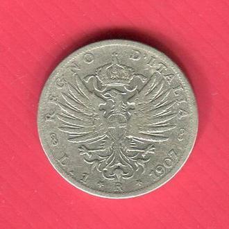 Италия 1 лира 1907 серебро Король Эммануил III Тип 1