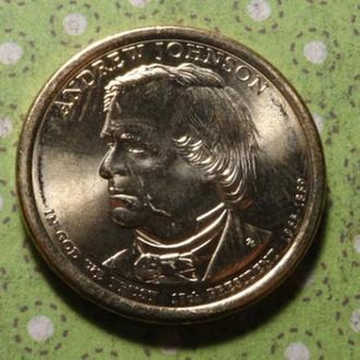 США 2011 D год монета 1 доллар Америка 17-й Президент Эндрю Джонсон !