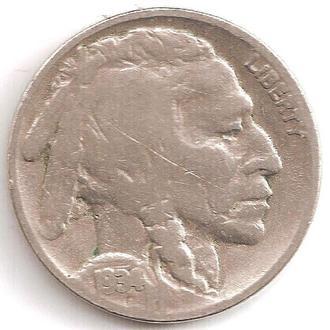 Монета 5 центов (США) 1934 Бизон (Индеец) (3)