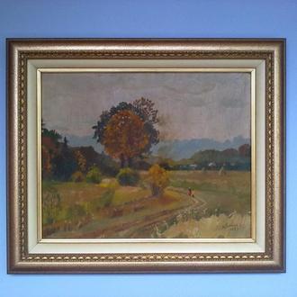 Картина подписная, пейзаж, осень