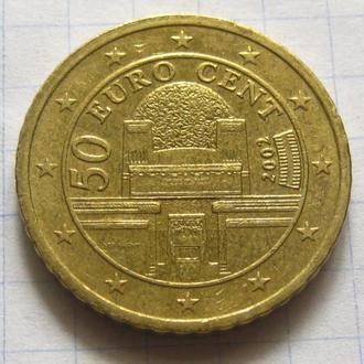 Австрия_ 50 евро центов 2002 года оригинал
