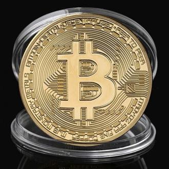 Сувенирная монета Биткоин в капсуле, цвет золотой