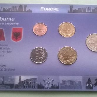 Набор монет АЛБАНИЯ пластик картон набір АЛБАНІЯ блистер запайка