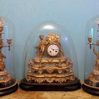 Каминные часы + два канделябра 19 век.