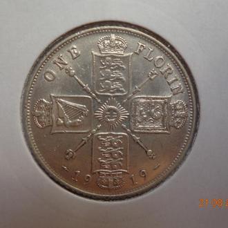 Великобритания 1 флорин 1919 George V серебро отличное состояние очень редкая