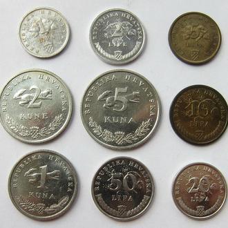 Хорватия набор 1, 2, 5, 10, 20, 50 липа и 1, 2, 5 куна (1993 - 2003)