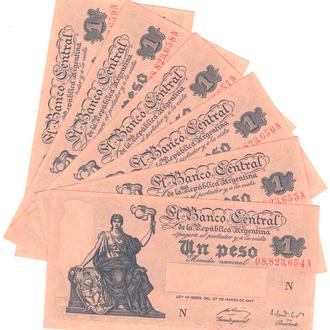 Аргентина 1 песо 1947 ( 1948-1951)г. в UNC из пачки
