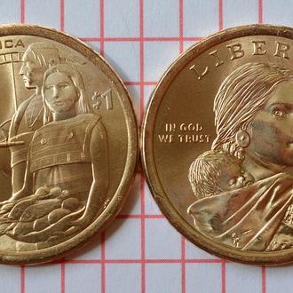 """1 доллар США """"Коренные Американцы"""" -  Гостеприимство индейцев, 2014 г"""