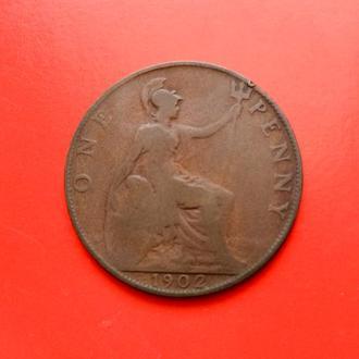 1 Пенни 1902 год Великобритания