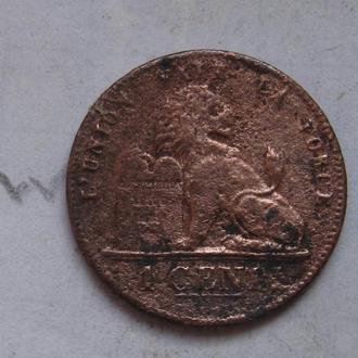 БЕЛЬГИЯ, 1 сантим 1882 г.