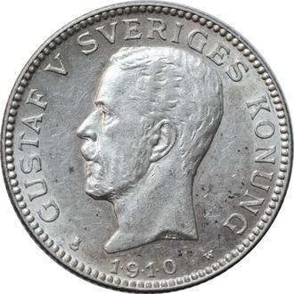 """Швеция 1 крона 1910 г. W, UNC, """"Король Густав V (1908 - 1950)"""""""
