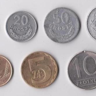 10, 20, 50 ГРОШ, 1, 2, 5, 10 ЗЛОТЫХ = 1949, 1976, 1977, 1982, 1986, 1988 гг. = ПОЛЬША = 7 монет