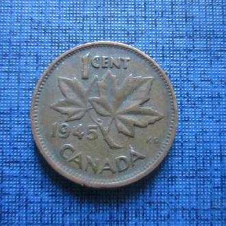 Монета 1 цент Канада 1945